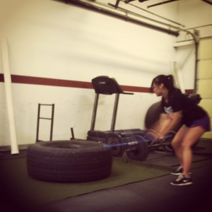 A snapshot of yesterday's metabolic finisher. OH sledgehammer hits, burpees, and tire flips at Cressey Performance.
