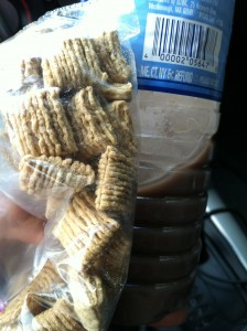 My PWO flavor of the moment: chocolate protein shake and Quaker Oatmeal Squares. Simple and yummy!